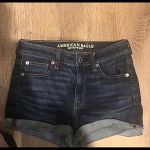 American Eagle High Rise Dark Wash Denim Shorts